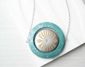 Wood Statement Necklace - 5th Anniversary Gift, Turquoise, Aqua, Silver, Bold Jewelry, Artsy, Boho, Painted, Splatter