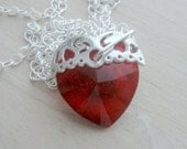 Valentines Day Gift Red Heart Necklace Swarovski Red Crystal Heart Necklace Sterling Silver Chain Necklace Red Heart Pendant Necklace