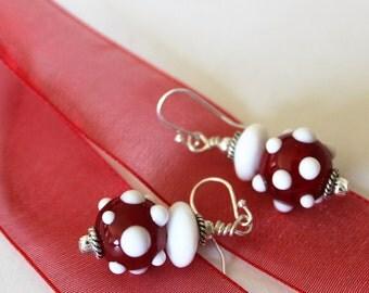 GLASS BEAD EARRINGS-Red White Polka Dot Earrings, Mothers Day Gift, Gift for Her, Gift Wrapped, Handmade, Silver, Under 15, Gift for Mom