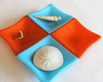 FUSED GLASS DISH -Turquoise Orange Trinket Dish, Candy Dish, Sectioned Dish, Square Glass Dish, Glass Organizer Dish, Under 25, Wedding Gift