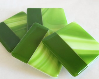GLASS DRINK COASTERS - Green Apple Fused Glass Coasters, Gift for Hostess, Wedding Gift, Gift Under 25, Green, Mug Coasters, Green Home Gift