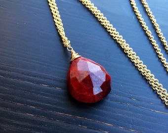 Ruby Necklace Gold Rose Gold or Silver Finish July Birthstone