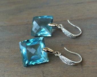 Sky Blue Topaz Pave Earrings.  Sterling silver