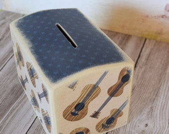 Accoustic Guitar Wood Bank, Kids Money Banks Coin Bank, Kids Room Decor, Nursery,  Coin Box, Coin box,  Guitar, Music, Musician