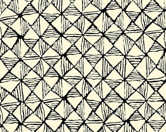 Maya from Quilting Treasures - Full or Half Yard Cream Diamond Geometric - Black on Cream Modern