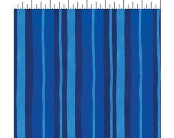 Rhapsody by Sue Zipkin for Clothworks - Full or Half Yard Painted Porcelain Stripe - Navy and Royal Stripes