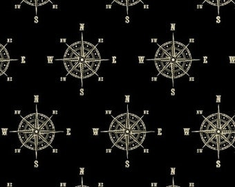 World Maps from Windham - Compass on Black Full or Half Yard