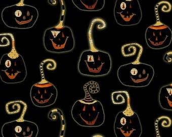 Halloween Jack-o-Lanterns - Cheeky Pumpkins from Studio E - Full or Half Yard Pumpkins on Black