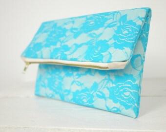 Aqua lace clutch, fold over turquoise lace clutch | Turquoise Bridesmaid Clutch | Wedding Clutch in Aqua