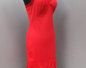 Vintage  RED Slip w/Ruffle Hem size 34 Short / SEARS ROEBUCK / Christimas or Valentine's Day Lingerie