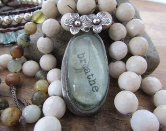 Beachy boho necklace - Castaway - inspirational pendant necklace, natural seaglass sterling silver flower charms, soldered jewelry, bohemian