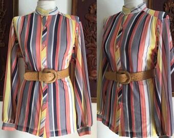Vintage 80s / Cos Cob / Colorful Striped / Secretary / Shirt / Top / Blouse / Medium
