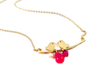 Love birds Necklace,Bird necklace,Bird Jewelry,Ruby drop,Gold pendant necklace by Taneesi