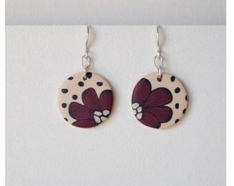 Red Petals retro earrings