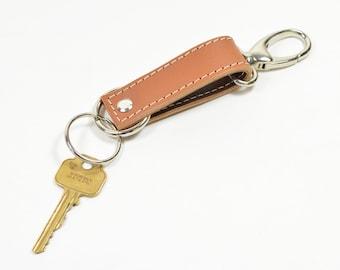Handmade Tan Brown Leather Keychain Key Fob Keyring.