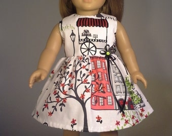 18 inch Doll Clothes Red French Paris Print Dress Fits American Girl  Doll Clothes