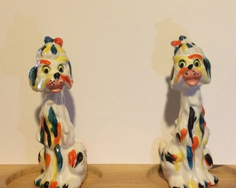 Vintage Ceramic Dogs Salt and Pepper shakers, colorful Poodles