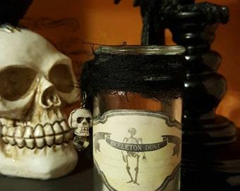 Apothecary bottle, SKELETON DUST, for your halloween decor