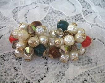 Vintage Dangle Earrings ~ Jiggle ~ Clip On ~ Baroque Pearls