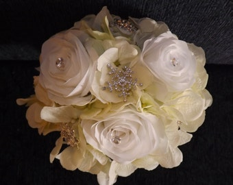 Snowflake crystal brooch bouquet, cream/white hydrangea and roses, toss bouquet, posy bouquet, mom's, grandmother's