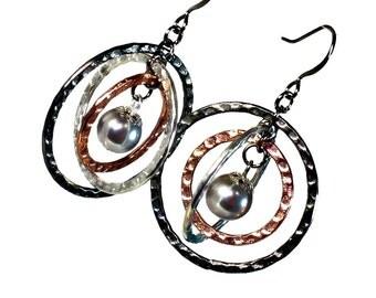 Mixed Metals Gray Pearl Earrings, Planet Earrings, Unique Handmade Jewelry, Modern, Twirly Earrings