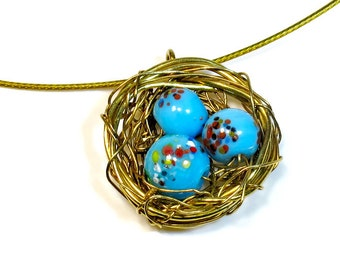 Speckled Eggs Robins Birds Nest Necklace Pendant, Boho,  Handmade Gift Ideas, Handcrafted,  Gift For Mom, Woodland