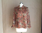 vintage 90's oversized secretary blouse / rose pattern / gold and copper tones