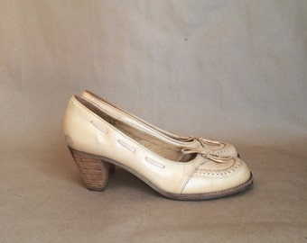 gorgeous vintage 1970's stacked heel loafer womens shoes