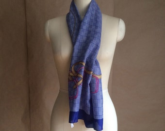 WEEKEND SALE 25% OFF / 1990's vintage scarve scarf royal blue houndstooth / pink gold riding accessory image