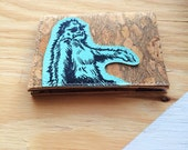 Thin Mens Cork Wallet with a Sasquatch