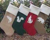 Family Stockings, Four Custom Christmas Stockings - You Design Burlap Christmas Stockings - Simple, Woodland Theme