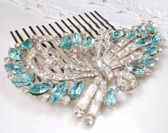 Aqua Blue Art Deco Rhinestone Bridal Hair Comb, Vintage Silver Teal Clear Pave Crystal Brooch to OOAK Headpiece Aquamarine Wedding Comb