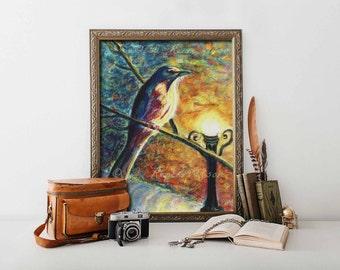 Pastel Mockingbird Painting Print Matted and Signed Florida Statebird Print Bird Nerd Wall Art