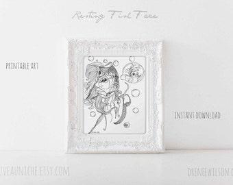 DIY Decor Koi Printable Art Butterfly Koi Zen Tangle Ink Drawing Black and White Decor Printable Decor Minimalist Decor Coastal Decor Print