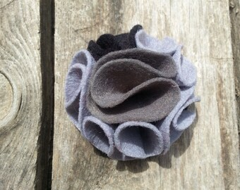 multi color felt magnetic brooch - cement Grey, Silver Grey, Black