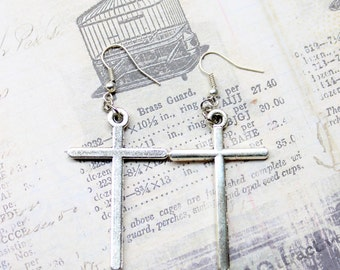 Simple Large Silver Cross Earrings