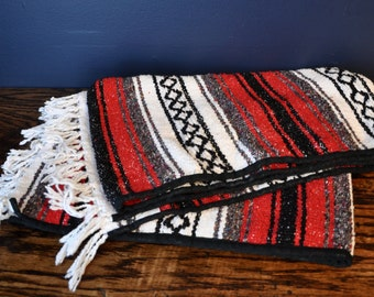 Vintage Red, Black and White Falsa Blanket Poncho