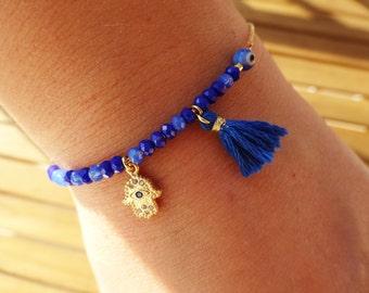 Blue Gold Hamsa Charm Bracelet - Gold Hamsa Bracelet with Czech Beads