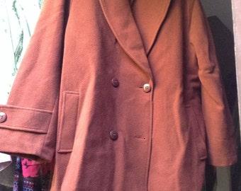 Sale Vintage 80s Rust Brown Wool Coat