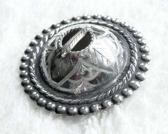 Dome Penannular Sterling Silver Pin Brooch Engraved Celtic Scottish Brooch Unusual