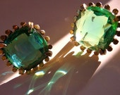 Schrager goldtone and mint crystal earrings vintage