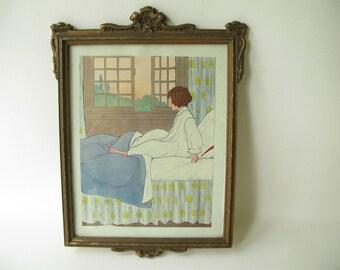 Vintage Wood Frame Gold,  Framed Print, Children, Ornate frame