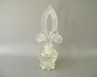 Vintage Cut Crystal Perfume bottle, decanter, stopper, fleur de lis