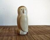 Vintage Carved Bone Owl Figurine by Alasken Artist Jon Pust
