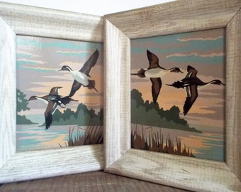 Pair of Mid Century Framed Flying Geese Paint by Number Paintings