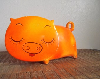 Vintage Bright Orange Mod Ceramic Pig Bank