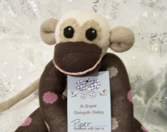 Piper the Brown Sock Monkey Stuffed Animal with Pink Polkadots