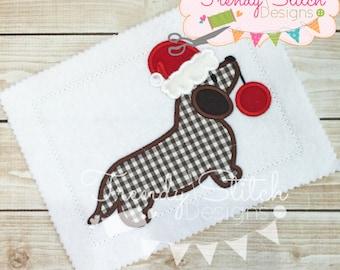 Wiener Dog Santa Applique Design Machine Embroidery Design INSTANT DOWNLOAD