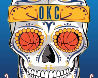 OKC Thunder Basketball Sugar Skull 11x14 Print