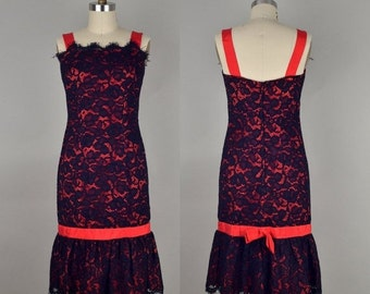 SHOP CLOSING SALE Vintage 1950s Hourglass Black Lace Cocktail Dress